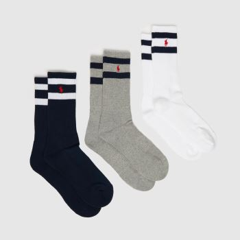 Polo Ralph Lauren White & grey Polo Rl Socks 3 Pack Socks