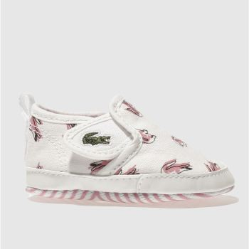 LACOSTE WHITE & PINK GAZON CRIB GIRLS BABY TRAINERS