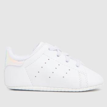adidas White & Silver Stan Smith Crib Girls Baby