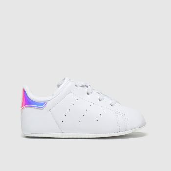 adidas White & Silver Stan Smith Crib Girls Baby
