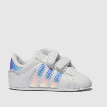 sports shoes e3ca3 4433f Adidas White  Silver Superstar Crib Girls Baby
