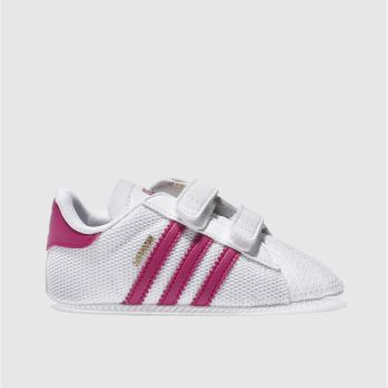 ADIDAS WHITE & PINK SUPERSTAR MESH SHOES BABY