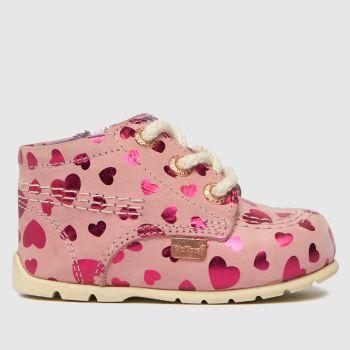 Kickers Pink Hi B Zip Crib Girls Baby