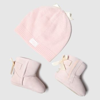 UGG Pale Pink Jesse Bow Ii And Beanie Girls Baby
