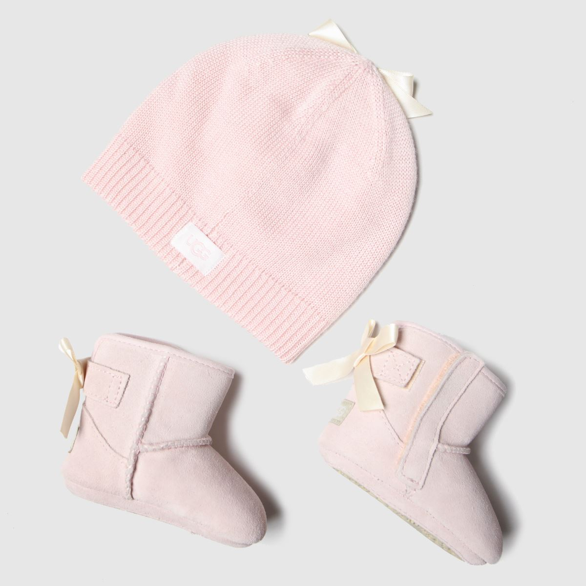 UGG Pale Pink Jesse Bow Ii And Beanie Shoes Baby