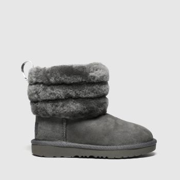 Ugg Grey Fluff Mini Quilted Girls Toddler