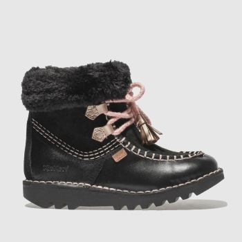 Kickers Black & pink Fur Wallee Girls Toddler