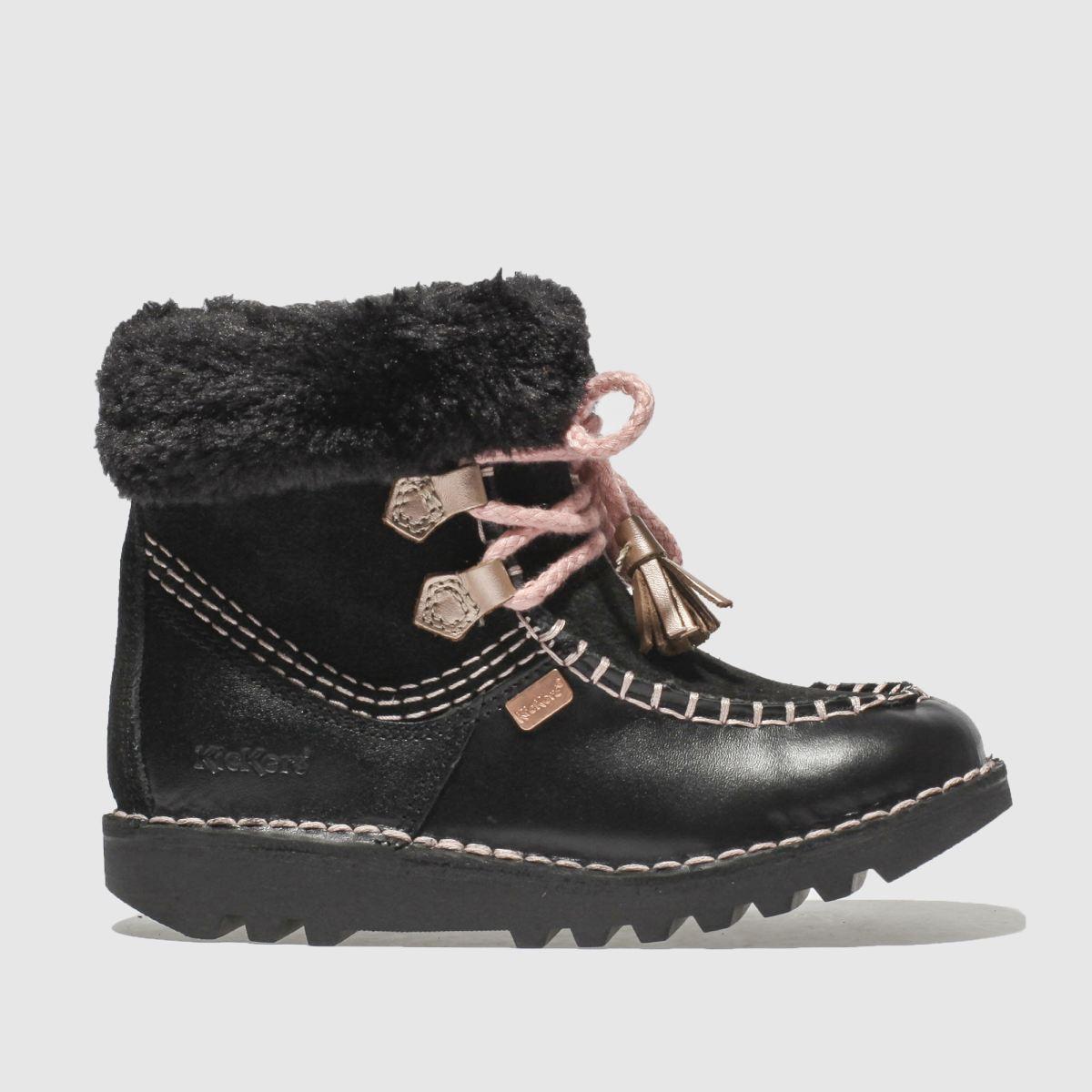 Kickers Black & Pink Fur Wallee Boots Toddler