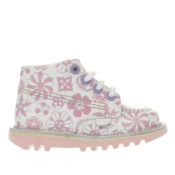 KICKERS WHITE & PINK KICK HI GIRLS TODDLER BOOTS