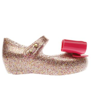 MELISSA  PINK & GOLD ULTRAGIRL GLITTER BOW GIRLS TODDLER SHOES