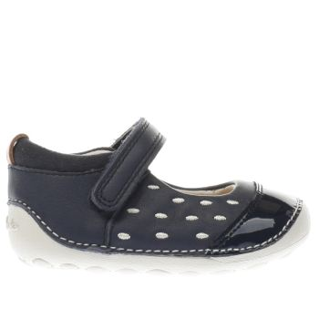 CLARKS NAVY & WHITE LITTLE LOU GIRLS TODDLER SHOES