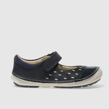 CLARKS NAVY & WHITE SOFTLY LOU GIRLS TODDLER SHOES