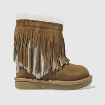 Ugg Tan CLASSIC SHORT II FRINGE Girls Toddler