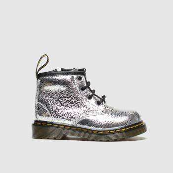 Dr Martens Silver 1460 Crinkle Metallic Girls Toddler