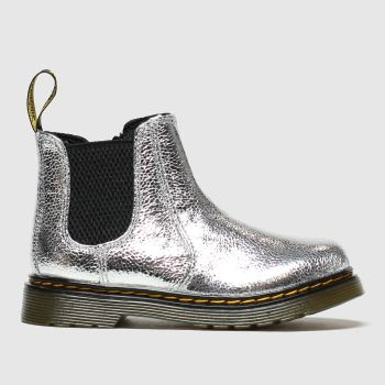 Dr Martens Silver 2976 Crinkle Metallic Girls Toddler