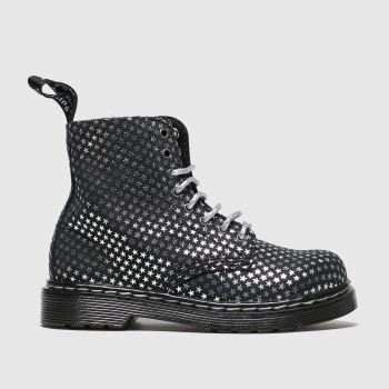 Dr Martens Black & Silver 1460 Pascal Silver Stars c2namevalue::Girls Toddler