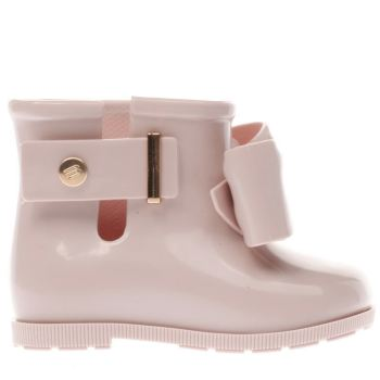 MELISSA PALE PINK MINI SUGAR RAIN BOW GIRLS TODDLER BOOTS