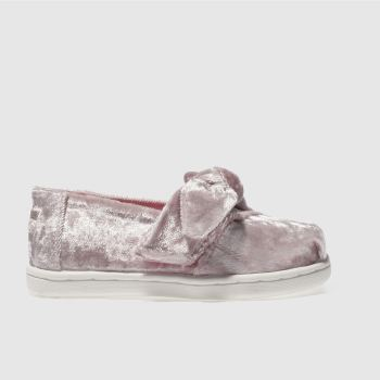 TOMS PALE PINK ALPARGATA BOW GIRLS TODDLER SHOES