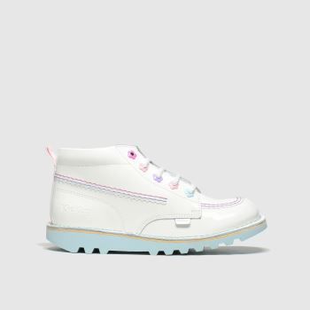 Kickers White Kick Hi Fleur Girls Toddler