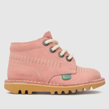 Kickers Pale Pink Hi Zip Girls Toddler