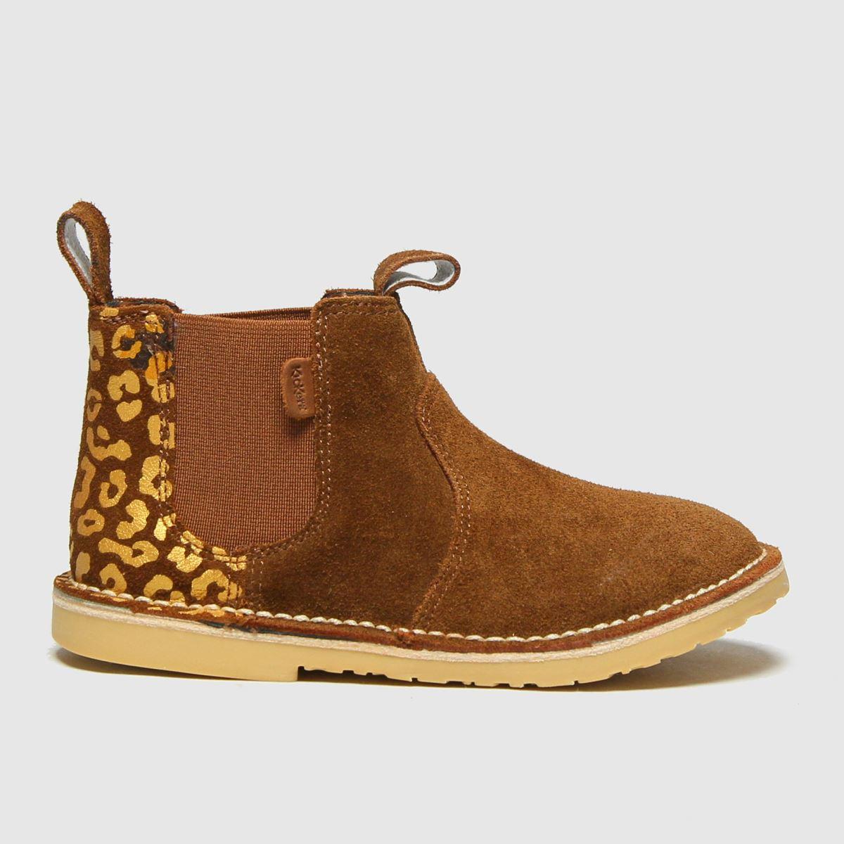 Kickers Tan Adlar Chelz Leopard Boots Toddler