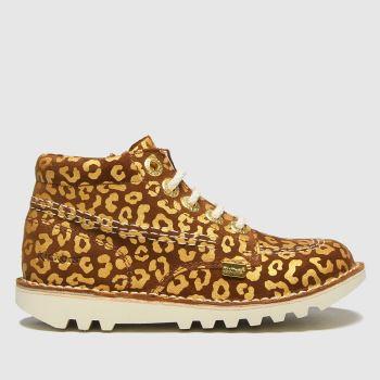 Kickers Tan Hi Leopard Girls Toddler