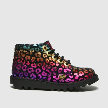 Kickers Black & pink Hi Leopard Girls Toddler