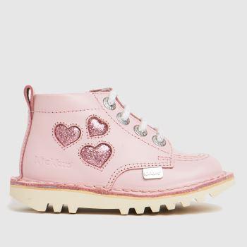 Kickers Pale Pink Hi Heart Girls Toddler