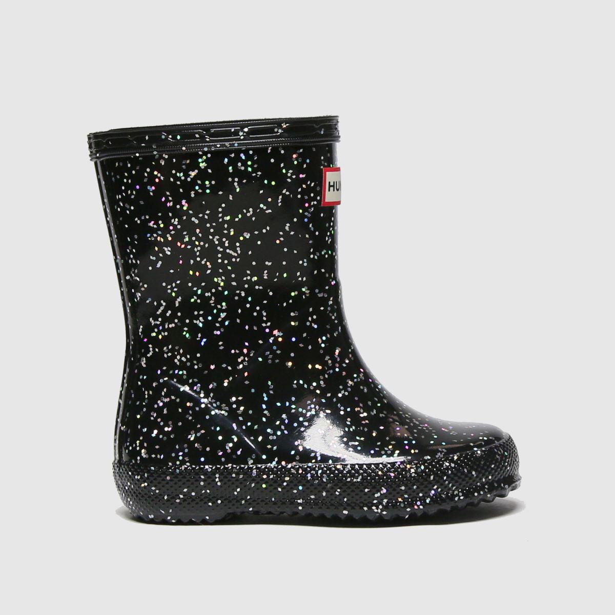 Hunter Black First Giant Glitter Tdr Boots Toddler
