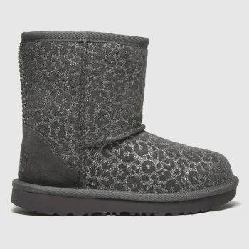 UGG Dark Grey Classic Ii Glitter Leo Girls Toddler