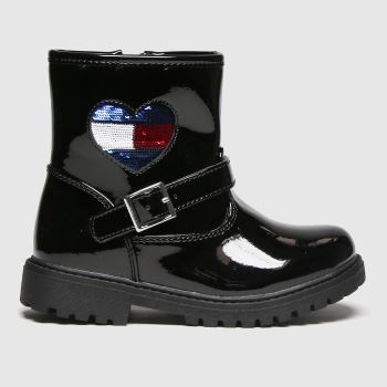 Tommy Hilfiger Black Biker Boot Girls Toddler