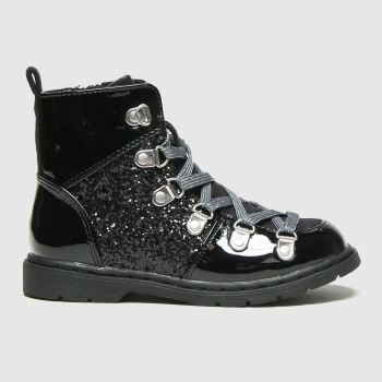 schuh Black Galactic Glitter Lace Up Girls Toddler