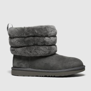 Ugg Grey Fluff Mini Quilted Girls Junior