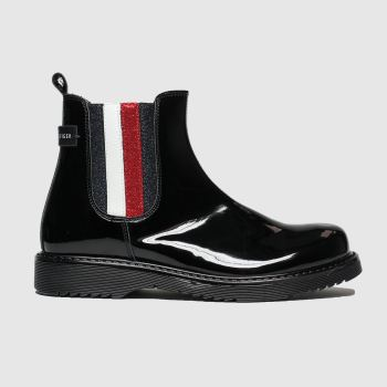 Tommy Hilfiger Black & Red Chelsea Boot Girls Junior