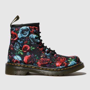 DR MARTENS BLACK & RED 1460 ROSE BOOTS JUNIOR