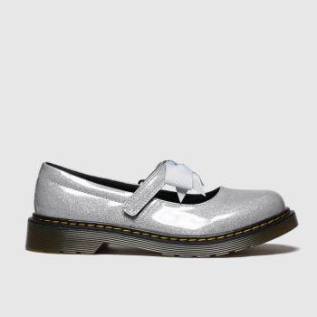 dr martens silver maccy ii glitter shoes junior