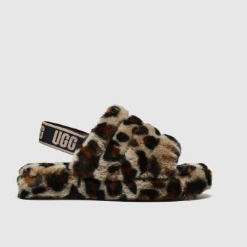 Ugg Brown & Black Fluff Yeah Slide Girls Junior