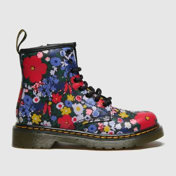 Dr Martens Black & Purple 1460 Wanderflora Girls Junior