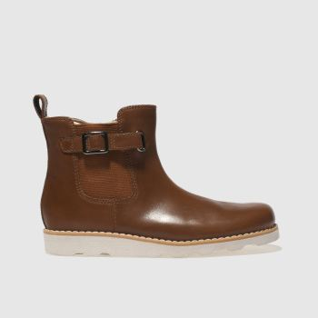 CLARKS TAN CROWN ART BOOTS JUNIOR