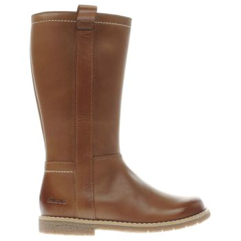 CLARKS TAN TILDY GRACE GIRLS JUNIOR BOOTS
