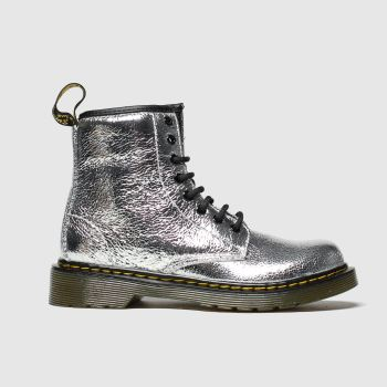 dr martens silver 1460 crinkle metallic boots junior