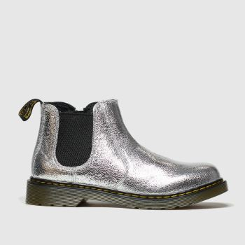 Dr Martens Silver 2976 Crinkle Metallic Girls Junior