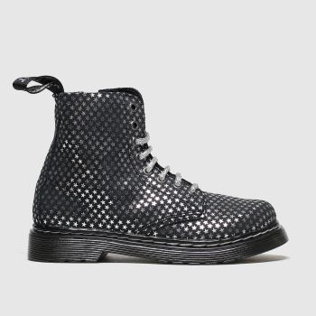 Dr Martens Black & Silver 1460 Pascal Silver Stars Girls Junior