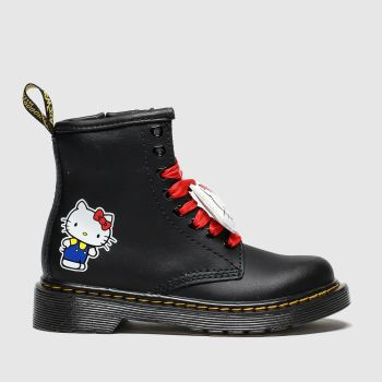 Dr Martens Black & White 1460 Hello Kitty Girls Junior