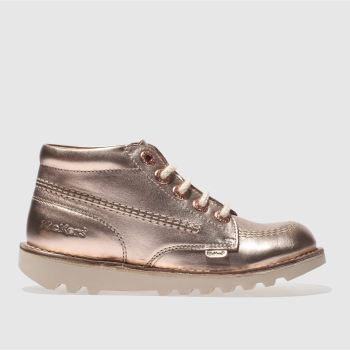 KICKERS ROSE GOLD KICK HI GIRLS JUNIOR BOOTS