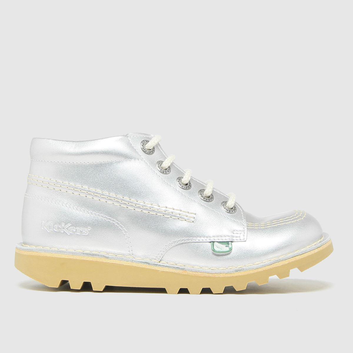 Kickers Silver Hi Zip Lthr Boots Junior