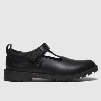 Kickers Black Lachly T Bar Girls Junior