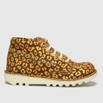 Kickers Tan Hi Leopard Girls Junior