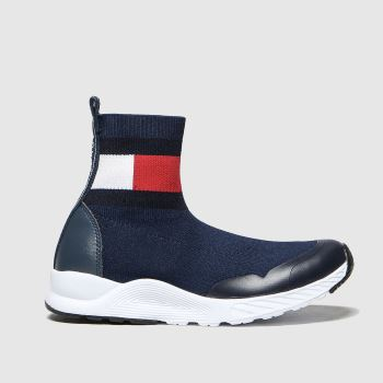 Tommy Hilfiger Navy & White Bootie Sneaker c2namevalue::Girls Junior