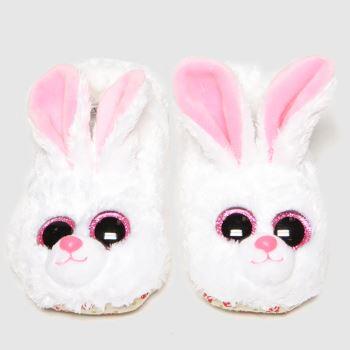 TyUK White & Pink Bunny Slipper Girls Junior